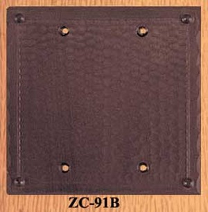 Arts & Crafts Copper Double Blank Switch Plate Cover Field Pattern (ZC-91B)