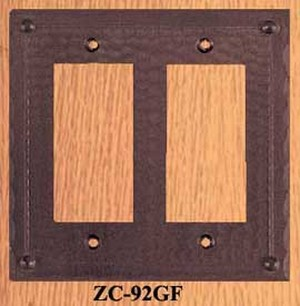 Arts & Crafts Double GFI Or Rocker Switch Plate Field Pattern (ZC-92GF)