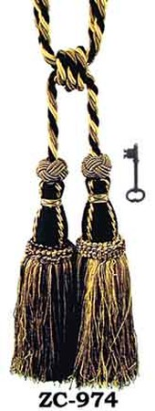 Tassel Curtain Tiebacks Pair Gold Dark Gold Black (ZC-974)