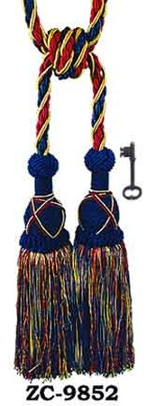 Tassel Curtain Tiebacks Pair Blue Red Gold (ZC-9852)