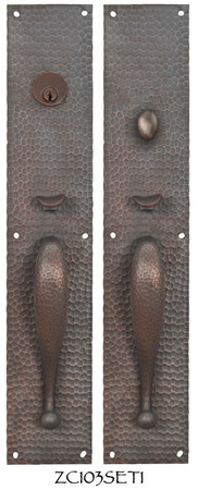 Arts & Crafts Entry Thumblatch Hammered Door Plate Set (ZC103SET1)