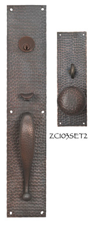 Arts & Crafts Entry Thumblatch to Knob Hammered Door Plate Set (ZC103SET2)
