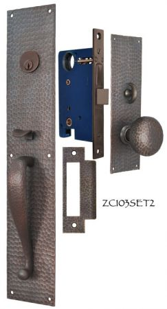 Arts-and-Crafts-Entry-Thumblatch-to-Knob-Hammered-Door-Plate-Set-(ZC103SET2)