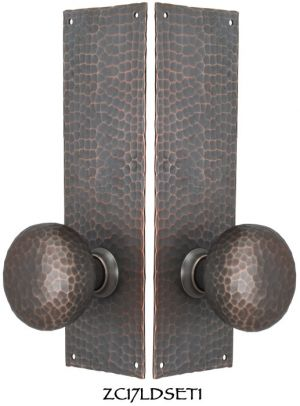 Arts-and-Crafts-Hammered-Copper-Door-Plate-Low-Knob-Dummy-Set-(ZC17LDSET1)