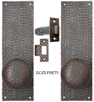 Arts & Crafts Hammered Copper Door Plate Tubular Low Knob Passage Set (ZC17LPSET1)