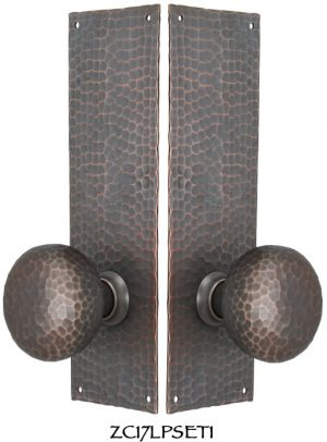 Arts-and-Crafts-Hammered-Copper-Door-Plate-Tubular-Low-Knob-Passage-Set-(ZC17LPSET1)