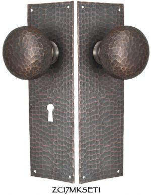 Arts-and-Crafts-Hammered-Copper-Door-Plate-Keyed-Mortise-Set-(ZC17MKSET1)