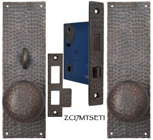 Arts & Crafts Hammered Copper Door Plate Locking Turnlatch Mortise (ZC17MTSET1)