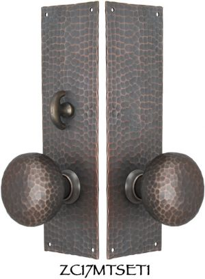 Arts-and-Crafts-Hammered-Copper-Door-Plate-Locking-Turnlatch-Mortise-(ZC17MTSET1)