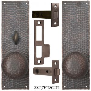 Arts & Crafts Hammered Copper Door Plate Locking Tubular Passage Set (ZC17PTSET1)