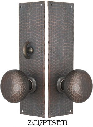 Arts-and-Crafts-Hammered-Copper-Door-Plate-Locking-Tubular-Passage-Set-(ZC17PTSET1)