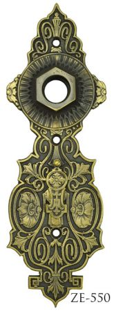 R&E Recreated Flower Motif Door Plate Circa 1870 (ZE-550)