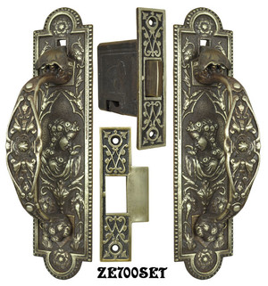 Door Rare Victorian Lady Thumblatch Passage Set By R&E Circa 1870 (ZE700SET)