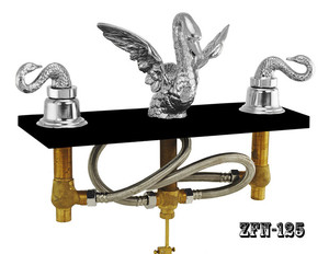 Bathroom Widespread Swan Faucet Set Nickel Plated (ZF-N125)