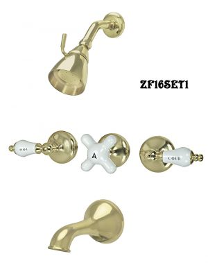 Retro Style Bathtub and Shower Hardware - Brass Showerhead, Handle, and Spout Set (ZF16SET1)