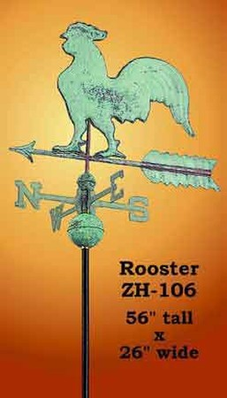 Rooster Copper Weather Vane (ZH-106)