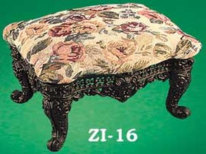 Cast Iron Victorian Medium Size Upholstered Foot Stool (ZI-16)