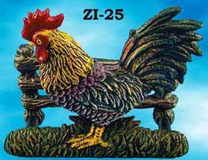 Cast Iron Recreated Rooster Letter Or Napkin Holder (ZI-25)