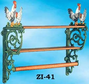 Farmhouse Cast Iron Rooster Kitchen Shelf (ZI-41)