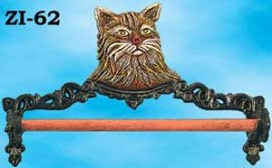 Cast Iron Towel Holder Cat Motif (ZI-62)