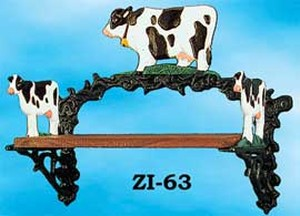 Rustic Cast Iron Bull Motif Small Shelf (ZI-63)