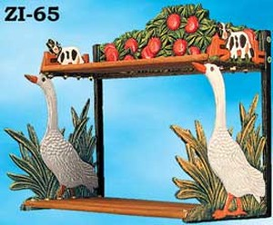 Country Decor Cast Iron Goose Double Shelf (ZI-65)