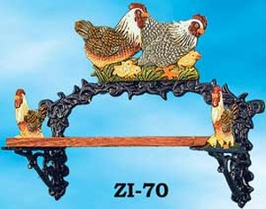 Cast Iron Country Chickens Small Shelf (ZI-70)