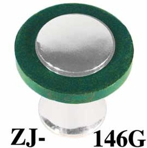 "Art Deco Bakelite Green 1"" Knob Nickel Plated (ZJ-146G)"