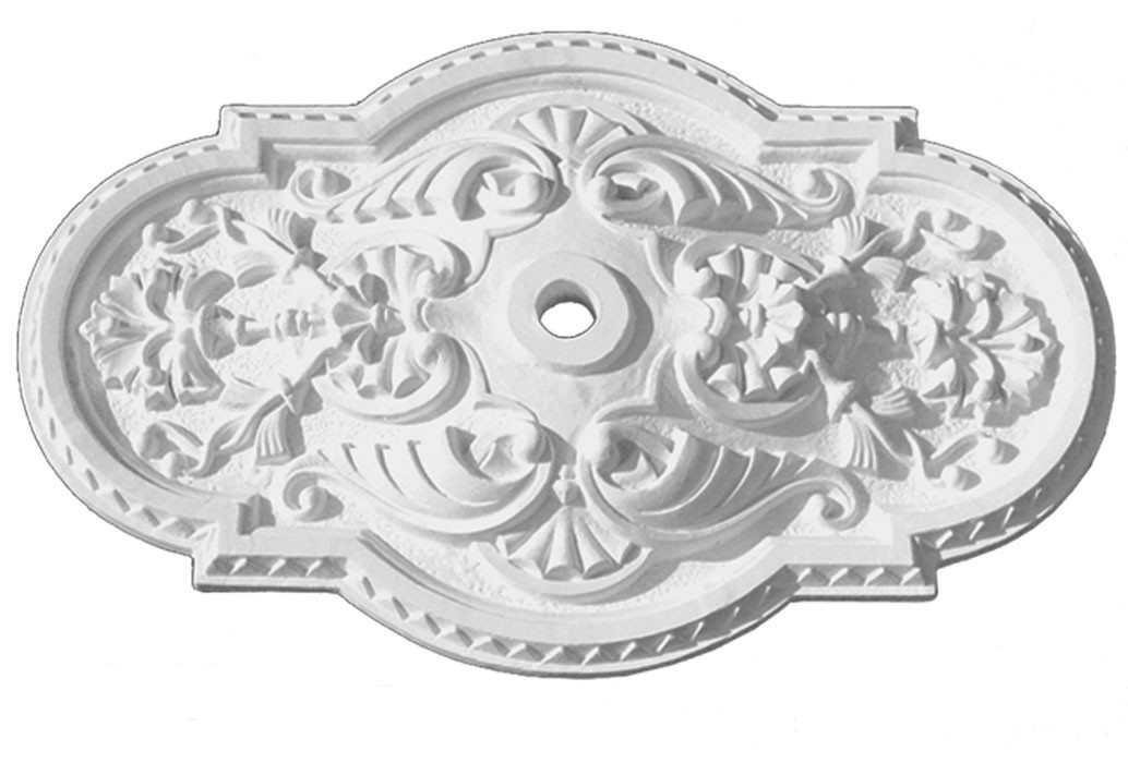 Authentic Plaster Ceiling Medallion Recreated S Or Scallop Rectangle 18 X 29 Diameter Zk
