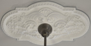Authentic-Plaster-Ceiling-Medallion-Recreated-Shell-Or-Scallop-Rectangle-18-X-29-inch-Diameter-(ZK-12)