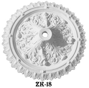 "Angel or Cherub Traditional Plaster Ceiling Medallion - 38"" Diameter (ZK-18)"