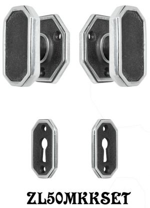 Art Deco or Modern Octagonal Door Set with Locking Keyed Mortise (ZL50MKKSET)