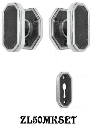 Art-Deco-Modern-Octagonal-Privacy-Door-Set-Locking-Keyed-Mortise-(ZL50MKSET)