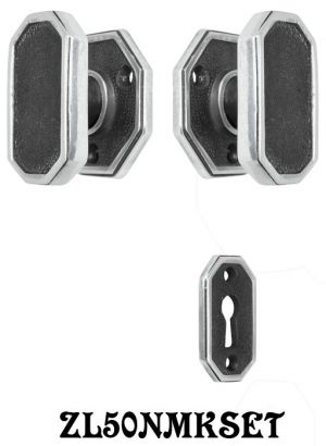 Art Deco Privacy Doorset 1 Inch Narrow BS Locking Keyed Mortise (ZL50NMKSET)