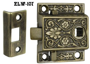 "Recreated Locking Victorian Screen Door Latch 1.5"" Backset (ZLW-107)"