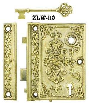 "Recreated Mallory & Wheeler Victorian Rim Lock 2 1/2"" Backset (ZLW-110)"