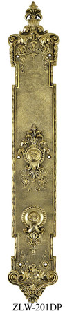 "Victorian Door Plate Recreated P&F Corbin Toulon Push Plate 22 1/4"" Tall (ZLW-201DP)"