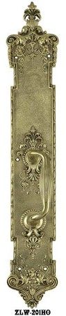 "Victorian P&F Corbin Handle Only Door Plate 22 1/4"" Tall Polished Brass (ZLW-201HO)"