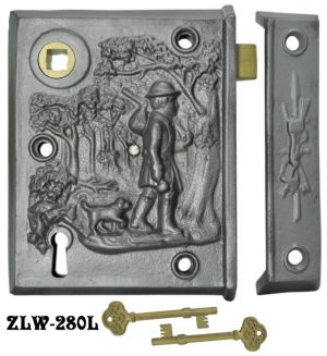 "Recreated Iron Left Hand Pioneer Scene Skeleton Key Lock 2 5/8"" Backset (ZLW-280L)"
