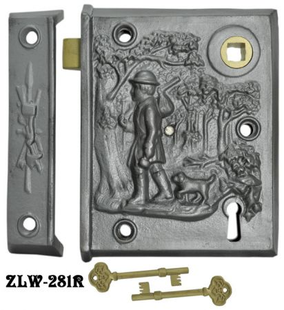 "Recreated Rare Pioneer Scene Surface Lock 2 5/8"" Backset (ZLW-281R)"