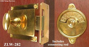 Occupied/Open Privacy Latch Set W/ Rim Catch Circa 1900 (ZLW-282)