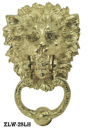 Midsize Lion Head Brass Door Knocker (ZLW-28LH)