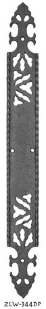 "Gothic or Art and Crafts Iron Pushplate Door Plate  17 1/4"" tall (ZLW-344DP)"