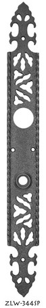 "Gothic or Arts and Crafts Iron Entry Door Plate 17 1/4"" tall (ZLW-344SP)"