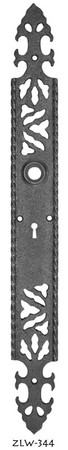 "Gothic or Art and Crafts Iron Keyhole Door Plate  17 1/4"" tall (ZLW-344)"