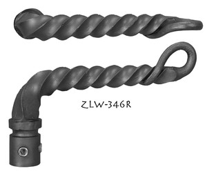 Gothic or Art and Crafts Twisted Iron Right Lever Handle (ZLW-346R)