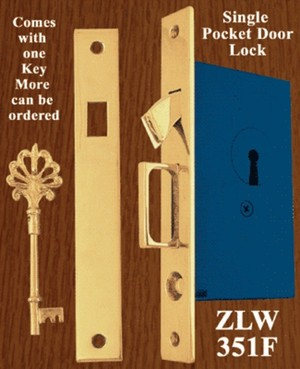 Plain Pocket Door Lock With Key - Choice Of Finish (ZLW-351F)