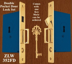 Recreated Double Pocket Door Lock Set (ZLW-352FD)