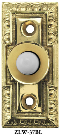 "Small Classic Victorian Electric Pushbutton Doorbell 1 1/8"" Wide (ZLW-37BL)"