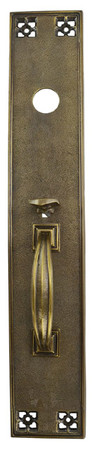 Arts & Crafts Exterior Entry Thumblatch Door Plate 19 1/2